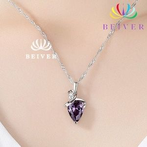 Incredible Water Drop  Purple CZ Necklace  NEW